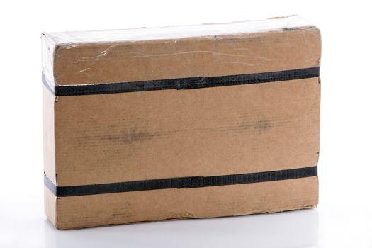 Strapped rectangular cardboard box