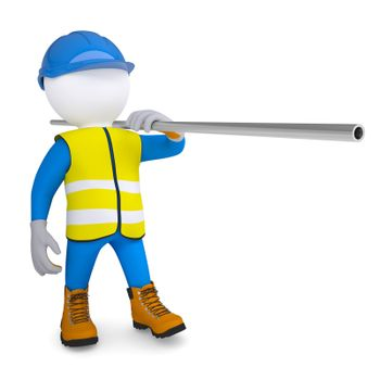 Worker in overalls carries a pipe