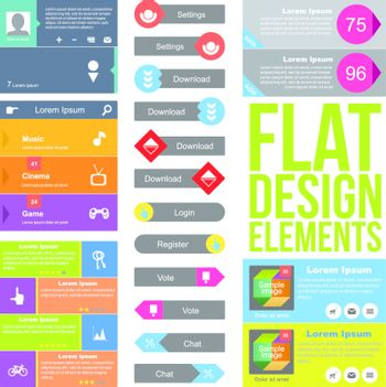 Flat Web Design elements.  Templates for website.