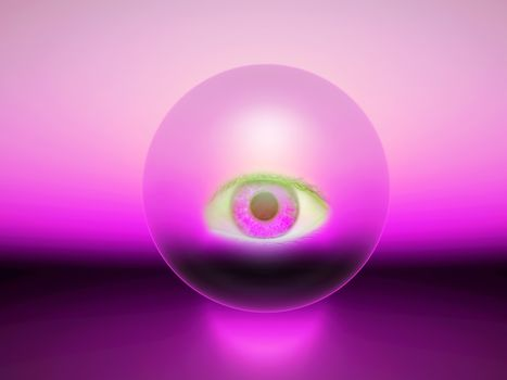 a purple 3d sphere with an eye inside