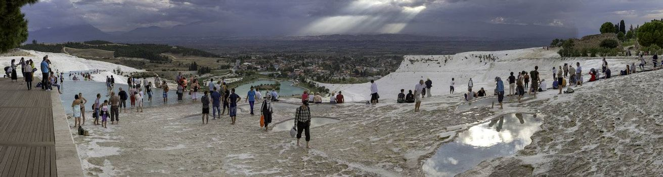 Panoramic view of the Pamukkale - The Cotton Castle in Turkey