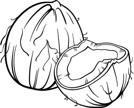 Black and White Cartoon Illustration of Coconut or Cocoanut Food Object for Coloring Book
