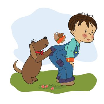 little boy playing with his dog, illustration in vector format