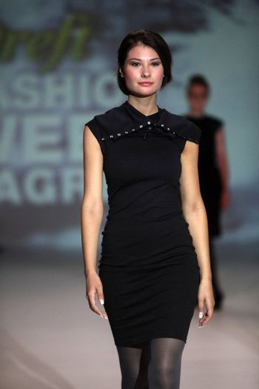 "ZAGREB, CROATIA - May 10: Fashion model wears clothes made by Maja Hrastinski on ""ZAGREB FASHION WEEK"" show on May 10, 2013 in Zagreb, Croatia."