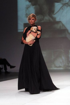 "ZAGREB, CROATIA - May 09: Fashion model wears clothes made by Kristina Burja on ""ZAGREB FASHION WEEK"" show on May 09, 2013 in Zagreb, Croatia."