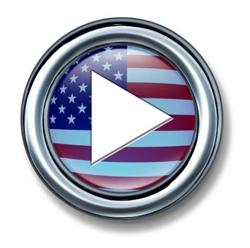 American media play button on a white background as a technology and internet icon from the United States and symbol of music and video start selection of digital media content.