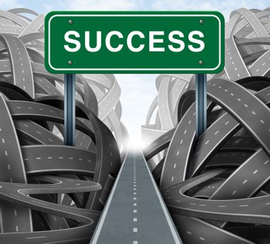 Clear strategy and financial planning road with a green highway sign and the word success as a business concept of winning solutions cutting through adversity through determination as tangled paths of confusion and chaos.