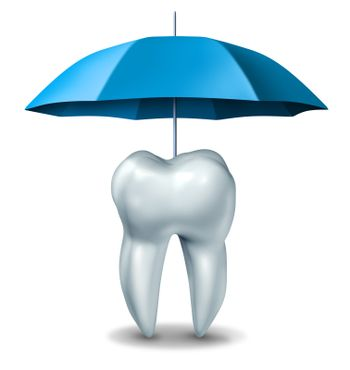 Dental protection plan medical dentistry concept with a white tooth being protected and getting pain relief by an umbrella against tooth decay and cavities on a white background.
