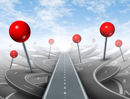 Direction Advice and choosing the right direct clear path to success with red push pins as confusing guides on the wrong roads as obstacles to financial wealth.