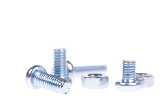 Screw and nut isolated on white background