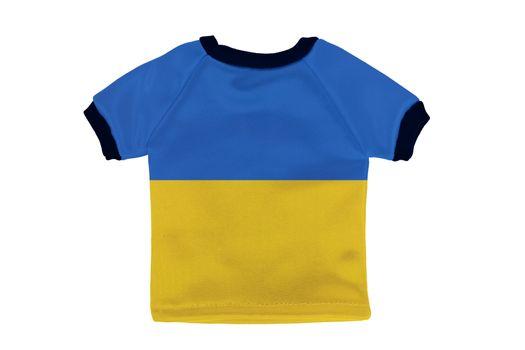 Small shirt with Ukraine flag isolated on white background