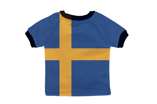 Small shirt with Sweden flag isolated on white background