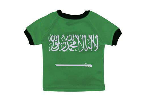 Small shirt with Saudi Arabia flag isolated on white background