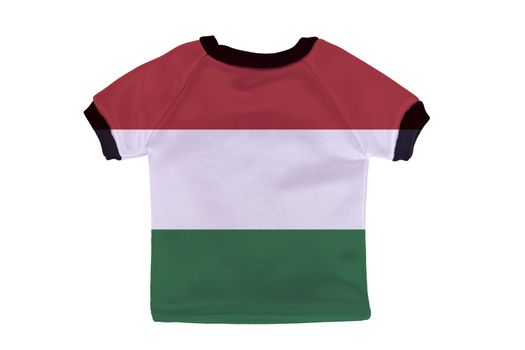 Small shirt with Hungary flag isolated on white background