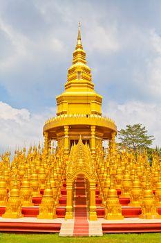 Top five hundred pagodas in Wat pasawangboon Saraburi, Thailand