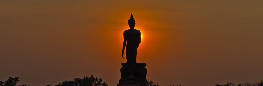 Silhouette of buddha statue panorama