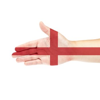 England flag on hand isolated on white background