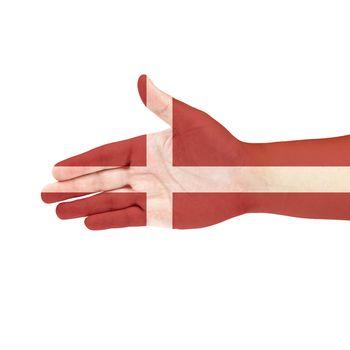 Denmark flag on hand isolated on white background