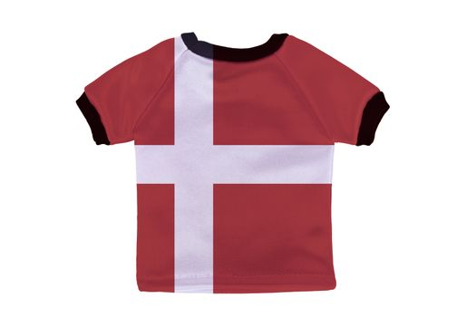 Small shirt with Denmark flag isolated on white background