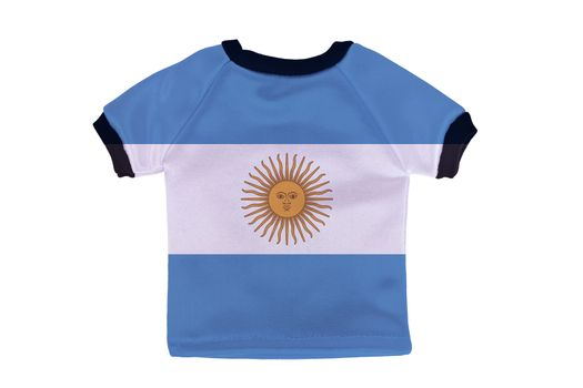 Small shirt with Argentina flag isolated on white background