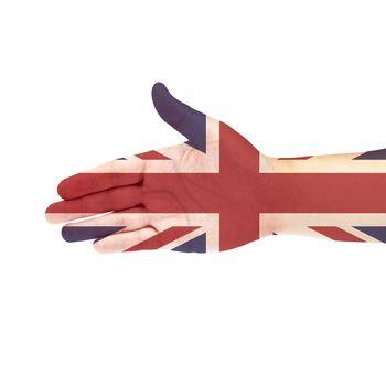 UK flag on hand isolated on white background