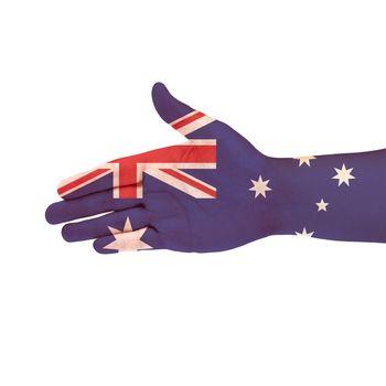 Australia flag on hand isolate on white background