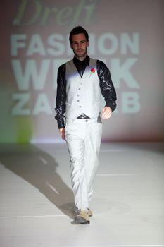 "ZAGREB, CROATIA - May 10: Fashion model wears clothes made by Toni Rico on ""ZAGREB FASHION WEEK"" show on May 10, 2013 in Zagreb, Croatia."
