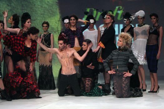 "ZAGREB, CROATIA - May 09: Fashion model wears clothes made by Zjena Glamočanin on ""ZAGREB FASHION WEEK"" show on May 09, 2013 in Zagreb, Croatia."