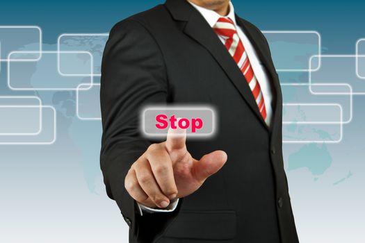 Businessman push Stop button