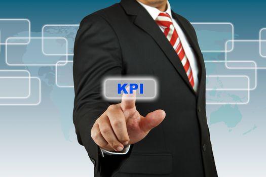 Businessman push KPI button