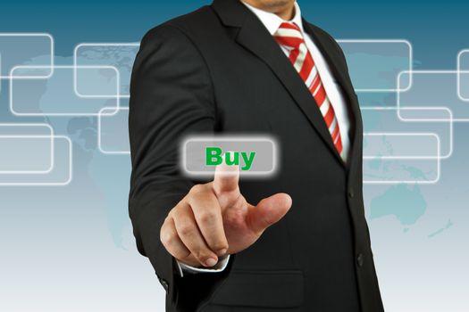 Businessman push Buy button