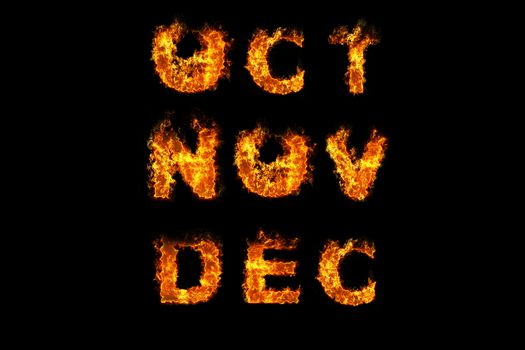 Month text on fire