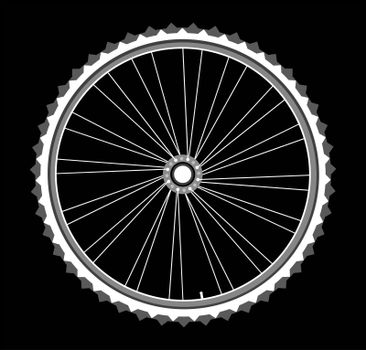 white Bicycle wheels isolated on black background