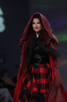 "ZAGREB, CROATIA - May 09: Fashion model wears clothes made by Milena Rogulj on ""ZAGREB FASHION WEEK"" show on May 09, 2013 in Zagreb, Croatia."