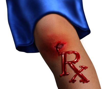 Child Health Care and pediatric medicine medical concept with a human child knee as a physical bleeding injury in the shape of RX pharmacy symbol as an icon of  family hospital services on white.