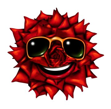 Flower character head as a fun red rose mascot of passion and romance with summer sun glasses and a smiling happy expression as a symbol of nature and natural beauty with a front view radiant petals pattern.