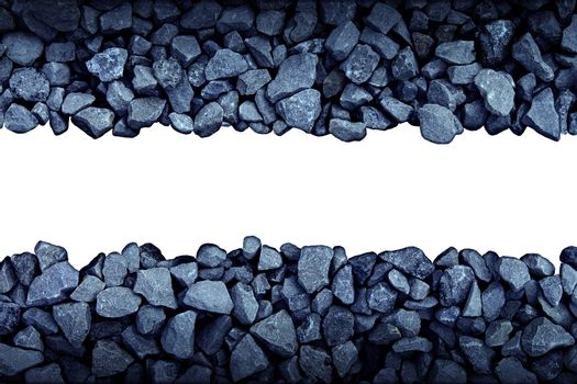 Rock Border Design Element with boken grey stones forming a wall pattern with  blank white background as a symbol of rough nature or mining.