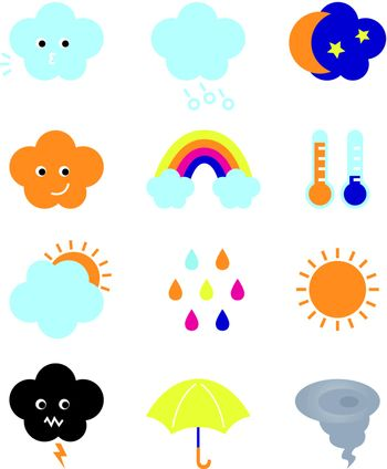 Weather elements collection. Vector Illustration