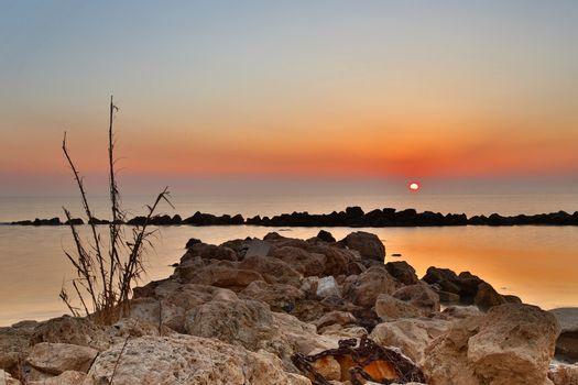 Sunrise over the Adriatic Sea, Italy.