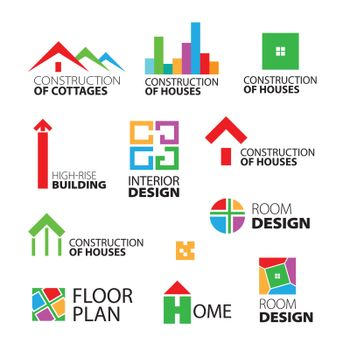 collection of vector logos construction and repair of houses