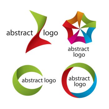 Collection of abstract multicolored logo of the tapes