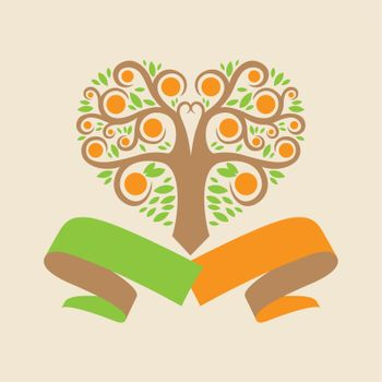 wedding logo with an orange tree in the form of hearts and ribbons