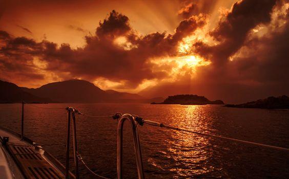 Yacht deck on sunset