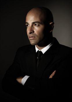 Serious man wearing suit