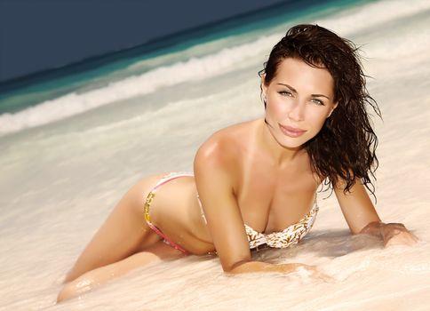 Sensual woman on the beach