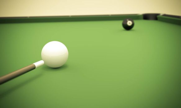 A white ball in the center of a pool table aiming at the 8 ball near the corner pocket.