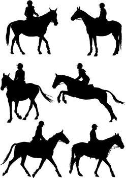 Six jockeys silhouettes on white background