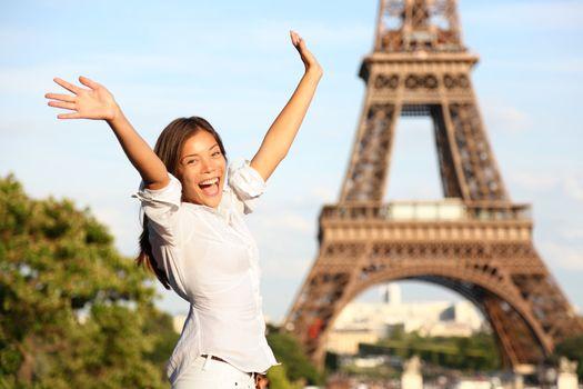 Travel Paris Eiffel Tower woman happy tourist