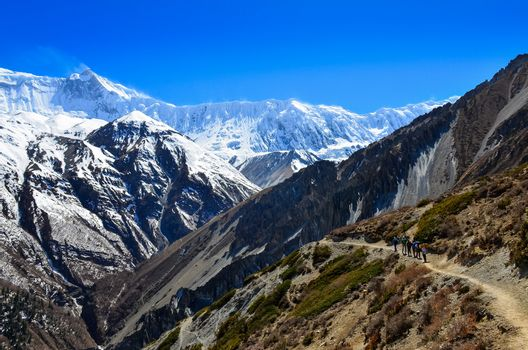 Group of mountain trekkers backpacking in Himalayas landscape, Nepal