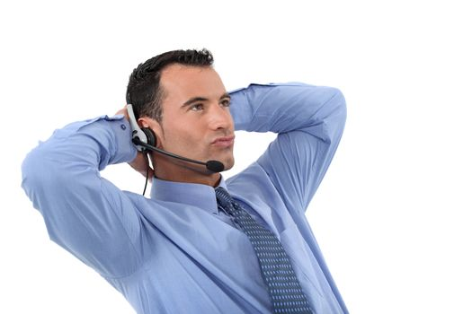 Lazy male call-center operative